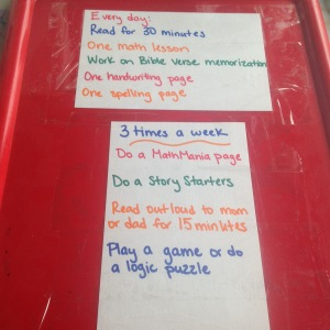 Homeschool Summer work box